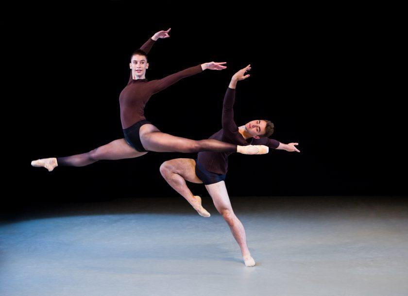 Ballet duet in brown costumes