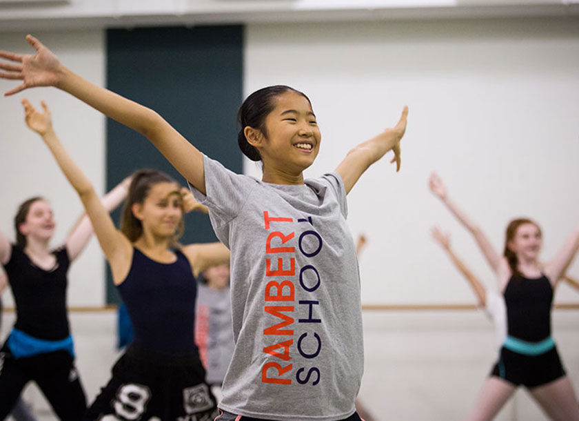 Young dancers in star shapes smiling in summer school
