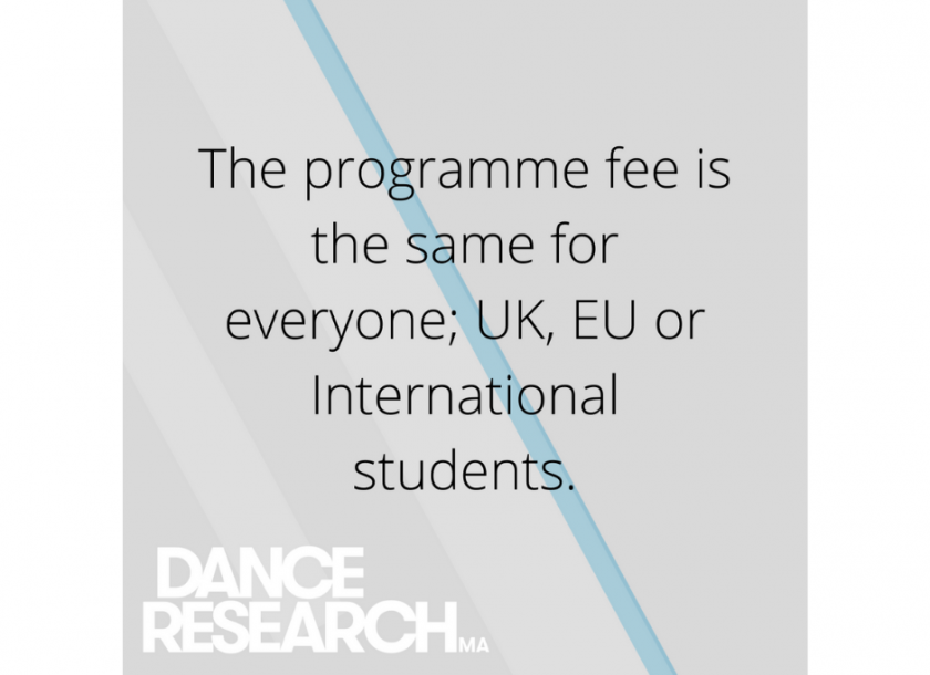 Dance Research graphic. Fees are the same for everyone