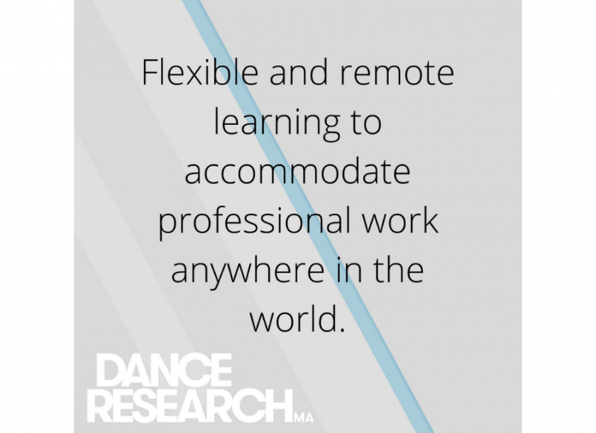 Dance Research graphic. The programme is flexible