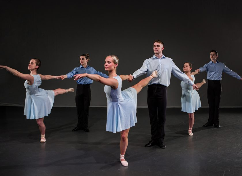 Neo-classical ballet group mixed group in blue
