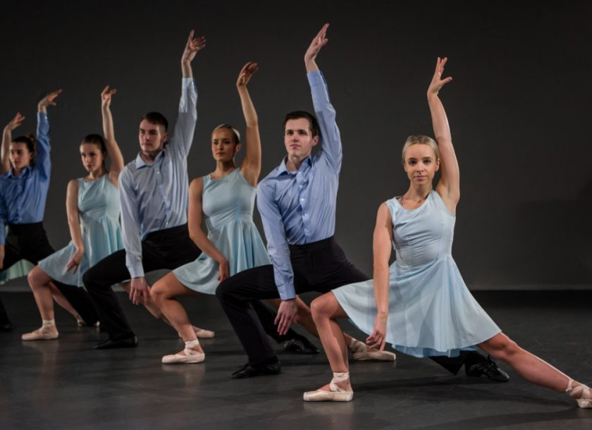 Neo-classical ballet group in pale blue costumes