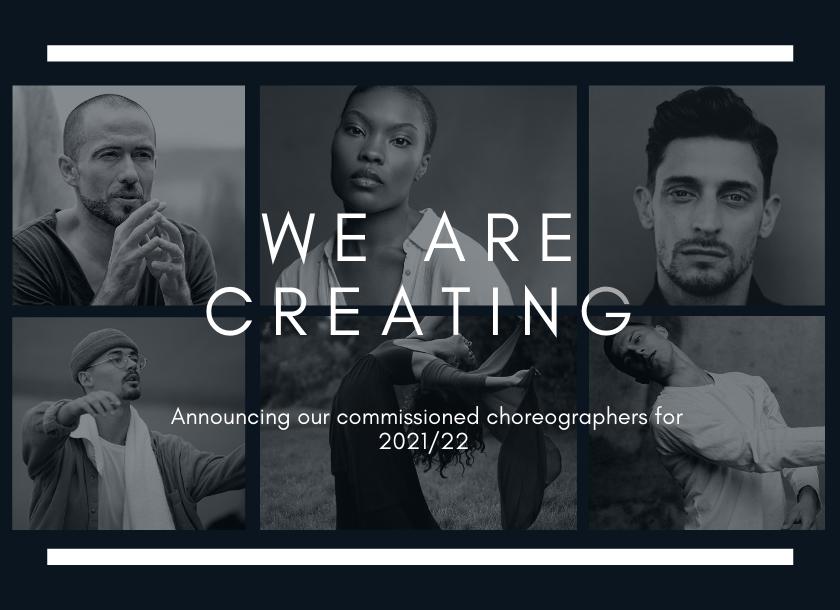 Headshots of six choreographers for 2021